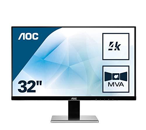 AOC U3277PWQU 80,01 cm (31,5 Zoll) Monitor (VGA, DVI, HDMI, 5ms Reaktionszeit, MVA Panel, DisplayPort, 60 Hz, 3840 x 2160 Pixel, UHD) schwarz (Generalüberholt)