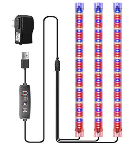 Luz LED para plantas con temporizador automático de encendido y apagado, 9 niveles de intensidad regulable y 3 modos de conmutación de luz de crecimiento, lámpara para plantas con temporizador 3/9/12