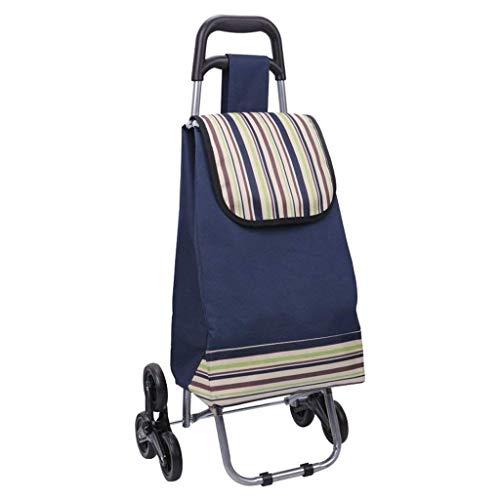 Coche de compras de gran capacidad ligero con ruedas de la compra del coche 6 ruedas azul empuje el bolso del carro