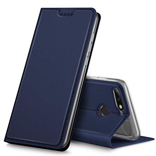 Verco Handyhülle für Y7 2018, Premium Handy Flip Cover für Huawei Y7 2018 Hülle [integr. Magnet] Book Hülle PU Leder Tasche [Honor 7C/Y7 Prime 2018/Y7 Pro 2018], Blau