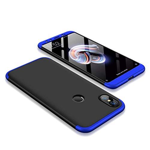 Kit Capa Capinha Anti Impacto 360 Para Xiaomi Mi A2 Tela 5.99- Case Acrílica Fosca E Acabamento Macio Com Película De Vidro Temperado - Danet (Preto Com Azul)