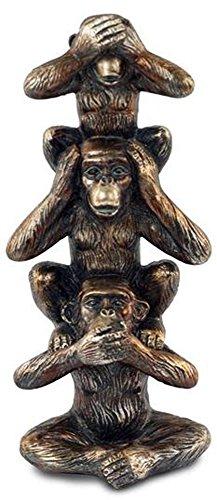 G&S Statuette Totem 3 Singes de la Sagesse en résine, H 20 cm