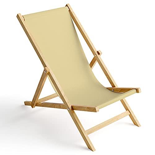Ferocity Tumbona de Madera Plegable, Silla de Playa con Funda Intercambiable, diseño...