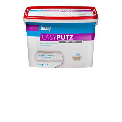 Knauf 89134 Fein 10 kg 1 mm EASYPUTZ, schneeweißer, mineralischer Dekorputz, hochwertig, zum einfachen Aufrollen auf Wand oder Decke im Innenbereich, atmungsaktiv, 1,0 mm Körnung