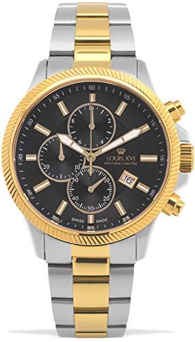 LOUIS XVI Herren-Armbanduhr Résidence Stahlband Silber Bicolor Gold Schwarz Chronograph Analog Quarz Edelstahl 991