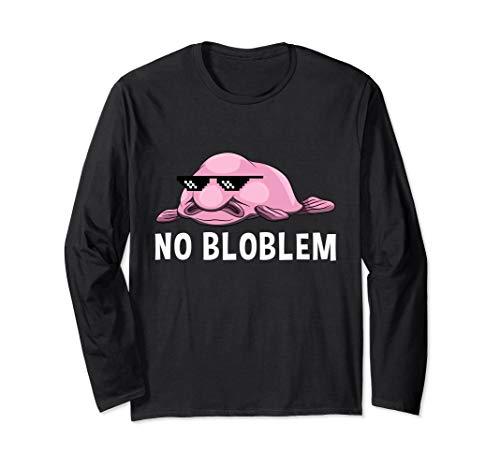 No Bloblem Blobfisch Lustiger Tiefseefisch Meme Brille Langarmshirt