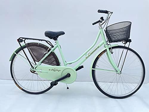 Bicicletta Donna da Passeggio Olanda Misura 26 Bici da città Vintage retrò con Cestino Verde Acqua