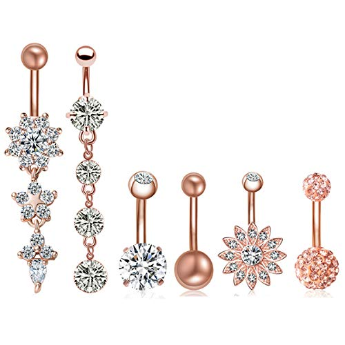 6PCS 14G Stainless Steel Dangle Belly Button Rings for Women Belly Piercing CZ Inlaid NASAMA (Style1pcs Rose gold)
