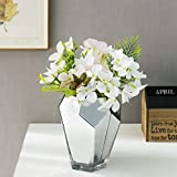 MyGift Decorative 6-inch Geometric Silver Glass Flower Vase with Multi-Faceted Mirror Finish