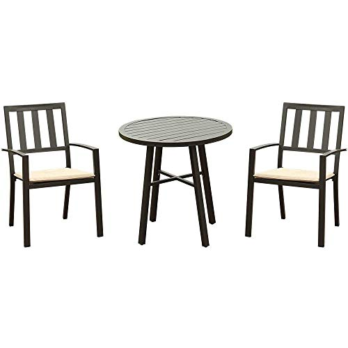 sunjoy patio furniture sets ONG 3 Piece Outdoor Patio Bistro Dining Set, All Weather Metal Frame Table and Chairs, Slatted Metal Round Table & 2 Patio Chairs, Porch, Deck, Outdoor Furniture Conversation Set, with Beige Cushions