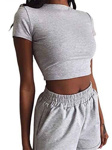 2 Pieces Set Women Textured Workout Shorts Sets Short Sleeve Crop Top + High Waist Short Pants Suits Biker Shorts Yoga Outfit,Casual Outwear Cloth Sets (Gray, X-Large)