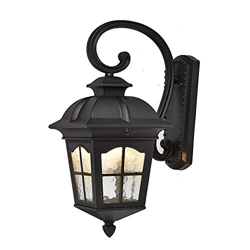 GIOAMH Lámpara de pared rústica impermeable para exteriores, para pasillo/jardín/balcón/jardín/lámpara de pared de porche, linterna de vidrio con fuente de luz E27,Negro