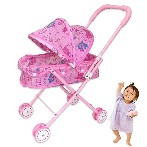 Sanfiyya 1PC Plegable Muñeca Cochecito con Capucha Adorable muñeca del Cochecito de niño de Peso Ligero de Rosa de bebé de Juguete Cochecito Fo niños, bebé, niños pequeños