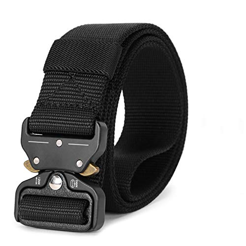 Tactical Military Sytle 125cm*3.8cm Outdoor Breathable Canvas Waist Belt for Sports KEYNAT Webbing Nylon Belt for Men with Plastic Buckle Airport