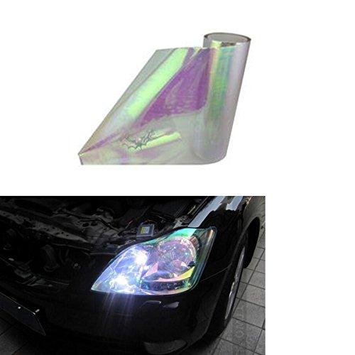 SMKJ Auto Scheinwerfer Folie Tönungsfolie Aufkleber für Scheinwerfer Nebelscheinwerfer Rückleuchten Blinker Gr.200cm x 30cm (Chamäleon weiß)