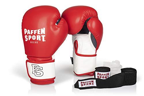 Paffen Sport «Starter» Box-Bundle, «FIT» Boxhandschuhe, rot/weiß, 14UZ; «Allround» Bandage schwarz, 3,5 m; «Allround» Zahnschutz, transparent, ohne Mint