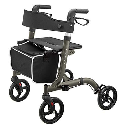 JHDPH3 Einkaufswagen, Walker, Aluminium Faltbare Vier fahrbare Rollator Gehhilfe Sitz mit Rückenlehne und Einkaufskorb, höhenverstellbar, 8-Zoll (20 cm) Rad, Handbremse