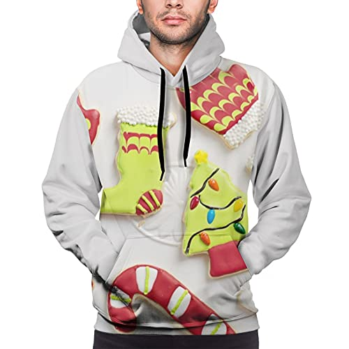AZHA Caramelos con capucha para hombre, con capucha de alta elasticidad, con bolsillos de canguro con capucha y estampado de diamantes 3D, para adaptarse a la talla L, color negro