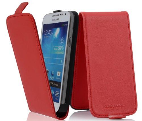 Cadorabo Custodia per Samsung Galaxy S4 Mini in Rosso Chili - Protezione in Stile Flip di Similpelle Fine - Case Cover Wallet Book Etui