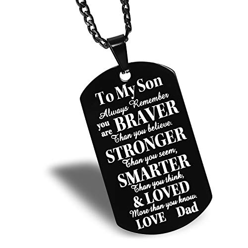 to Our Son Black Dog Tag Father to Son Mother to Son Necklace - to Our Son, Always Remember You're Braver Than You Believe. (Dad to Son)