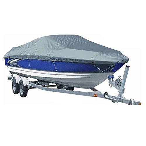 Gycdwjh Funda de Lancha Motora Impermeable, 210D Oxford Tela Funda para Barco Impermeable UV Resistente Cubierta para Lancha para V-Hull Ideal para Uso en Exteriores,Gris,17to19FT