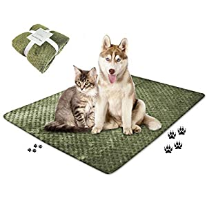 wonlex Super Soft and Fluffy Pet Blanket, Reversible Microplush Blankets for Dog Cat Puppy Kitten, Snuggle Blanket for Couch, Car, Trunk, Cage, Kennel, Dog House 47″x39″