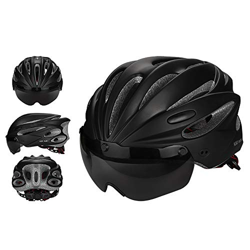ZRK Fahrradhelme Herren Ultraleichter, atmungsaktiver, einstellbares Fahrradhelm für Erwachsene mit Abnehmbarer magnetischer Schutzbrille, Visier und Sicherheitsschutz