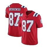 WHUI Jersey de Rugby Gronkowski 87#, Fans de Sport Jerseys pour Hommes, Joueur Logo sur la Poitrine et Dos, approprié comme Cadeau Red-XL