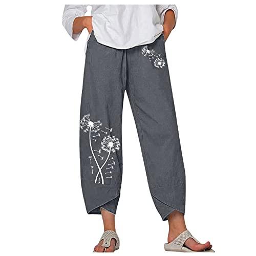 Honestyi Pantalones Palazzo De Pierna Ancha De Cintura EláStica Alta De Lino Informal A La Moda Para Mujer Pantalones Holgados De Verano Holgados Recortados Pantalones De Cintura EláStica