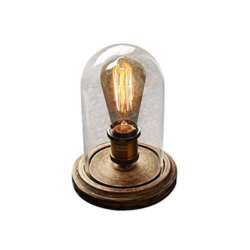 OMKMNOE Vintage Industriell Edison Hölzern,Basis Glas Schreibtischlampen Antiken Tischlampe Schreibtisch Licht Tisch Glühbirnen Für Café Bar Balkon Nachttisch Flur Schlafzimmer Wohnzimmer,Braun