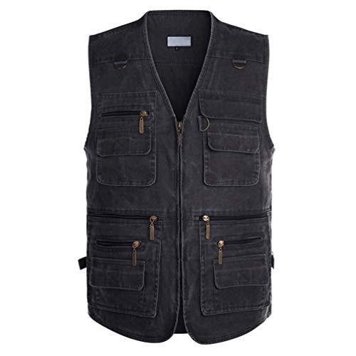 Aivtalk Herren Weste Ärmellos Westen Zip Up Sport Outwear mit Reißverschluss Outdoor-Weste Baumwolle Jacke mit Vielen Praktischen Taschen Größe 2XL - Grau