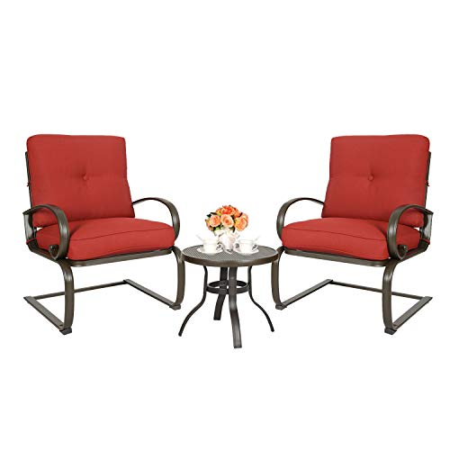 Ulax Furniture 3 Pcs Outdoor Bistro Set Patio Springs Action Chairs Conversation Set with Cushions (red)