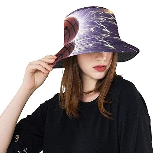 Yearinspace Único cubo sombrero de baloncesto bola de fondo ardiente chispas acción casual plegable Cap impreso pescador cubo sombrero sol para hombres mujeres A1