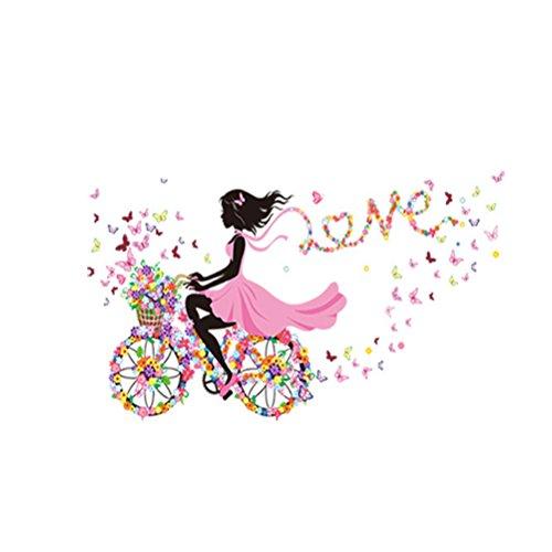 WINOMO Mädchen auf dem Fahrrad Wandtattoo abnehmbare Fee Blumen Schmetterling Wandsticker für Mädchen Kinderiimmer Dekor 90x60cm