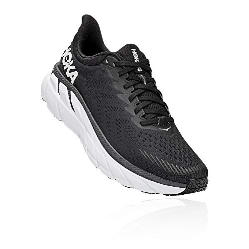 HOKA ONE ONE Men's Clifton 7 Running Shoes Black/White 12