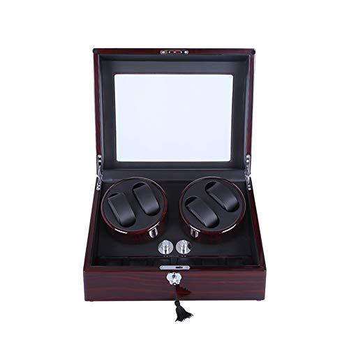 GFFTYX Holz Uhrenbeweger Mechanische Uhrenbox - Schütteltischbox Mechanische Uhr Automatikaufzug Einzeluhr Haushaltsuhr Aufbewahrungsbox Drehtisch Pendeltischschaukel, mit Schloss - 21,5x26x33cm