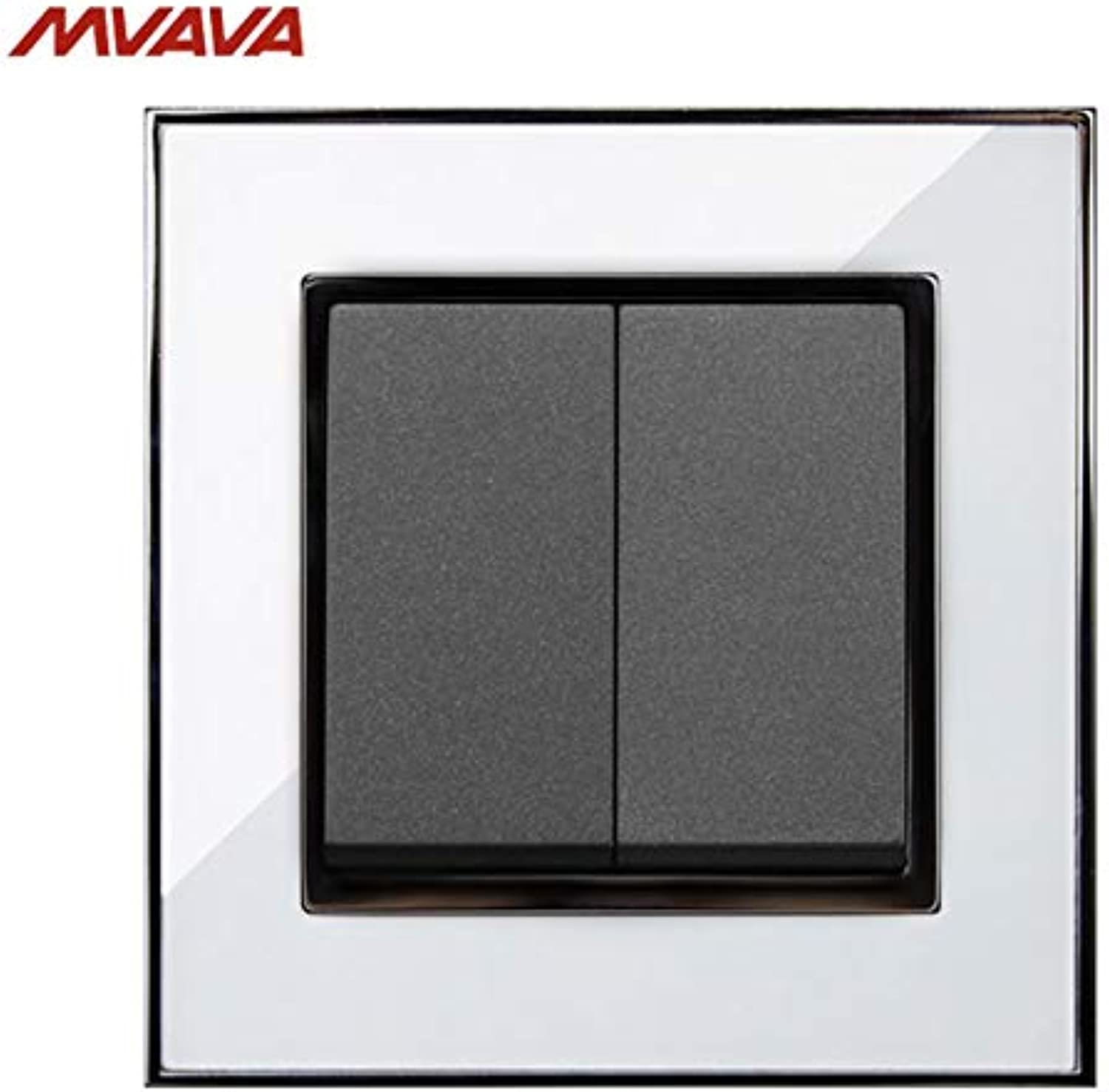 MVAVA 16A Light Wall Switch 2 Gang 1 2 Way Wall Decorative Light Control Push Button Luxury Mirror White Panel(color  2 Way)