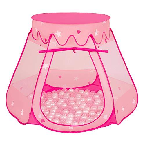 Selonis Pop Up Speeltent Kasteel Speelhuisje Met Plastic Ballen Voor Kinderen, Roze:Parel-Transparant,105X90cm/600 Ballen