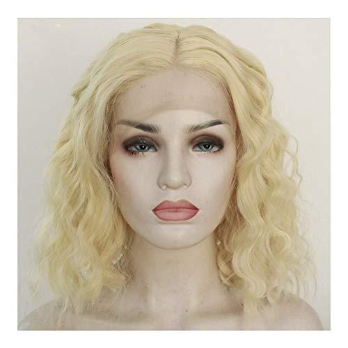 DANJIA Dentelle de style européen perruque perruque ondulée d'or court paragraphe la chansonnette (Color : Yellow)