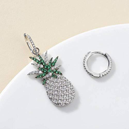 LOt Pendiente en Forma de Gota para Mujer Pendientes de Piña Pendientes de Diamante Pop Estilo Coreano Moda Pop Chapado en Oro Blancoplata