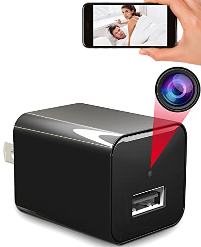 Hidden Camera Charger with Audio Live Feed WiFi - Mini Spy Camera USB Wireless Cam 1080P Full HD Security Cam Indoor Surveillance Camera - Nanny Cam