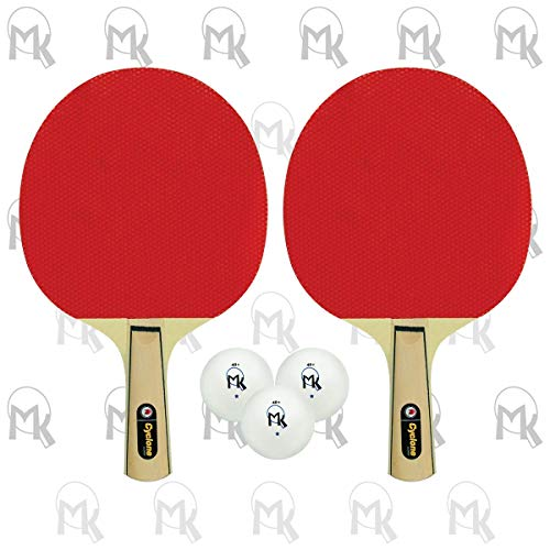 ping pong paddle butterflies 2 Butterfly Martin Kilpatrick Cyclone Racket 2-Player Set | Includes 2 Pimpled-Out with No Sponge (Hardbat) Paddles & Three 1-Star Ping Pong Balls | Great Beginner Racket Set