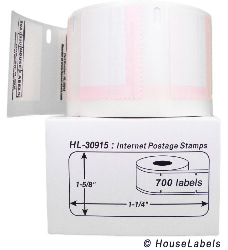 """6 Rolls; 700 Labels per Roll of HouseLabels DYMO-Compatible 30915 Internet Postage Labels (1-5/8"""" x 1-1/4"""") - BPA Free!"""
