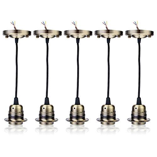 Preisvergleich Produktbild GreenSun LED Lighting Retro 5 Set Edison E27 Alu Lampenfassung mit Kabel Deckenfassung Fassung Socket Lampenfuss Vintage Halter für Hängeleuchte Deckenleuchte Adapter Beleuchtung Sockel Typ3