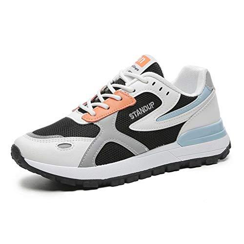 Zapatos Deporte Mujer Transpirables Ligeras Malla Zapatillas de Deportivas Correr Gimnasio Casual Atlético Caminar Cómodo Suave Sneakers Negro Blanco 39