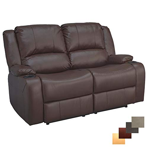RecPro Charles 58' Powered Double RV Wall Hugger Recliner Sofa RV Loveseat (Mahogany)