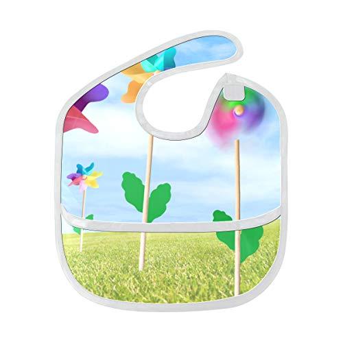 Moulin à vent jouet Reine Pinwheel tache lavable à l'eau douce et résistant aux odeurs bébé alimentation Dribble bavoir bavoirs chiffons pour bébé dans l'ensemble pour 6-24 mois cadeaux pour enfants