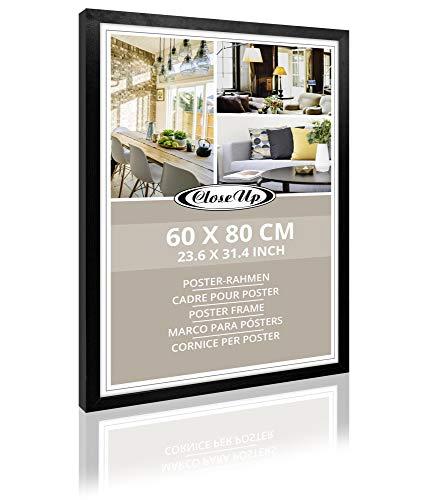 Close Up Bilderrahmen, Posterrahmen | Frame | 60 x 80cm, Schwarz | Black - für großformatige Poster, PVC Scheibe