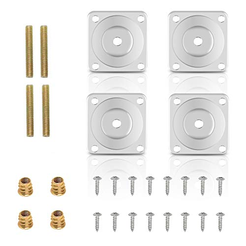 Matogle 4 Sets Furniture Leg Attachment Plates Sofa Leg Mounting Plates with Hanger Bolts Screws for Furniture Sofa Couch Seat Table Silver