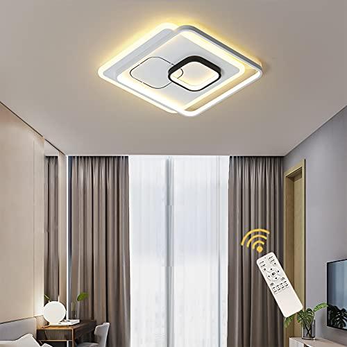 Lámpara de Techo LED Oninio de 45W, Plafon LED de Techo Acrílica Cuadrada Moderna Con Remoto, Luz de Techo de Montaje Empotrado Regulable, Accesorios de Iluminación de Cocina Dormitorio Oficina